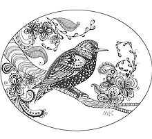 Zentangle Pop Art Starling Bird  by wildwildwest