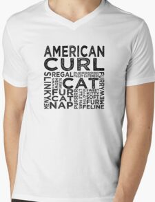 American Curl Cat Typography Mens V-Neck T-Shirt