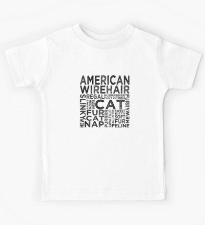 American Wirehair Cat Typography Kids Tee