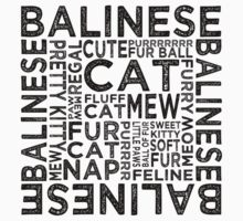 Balinese Cat Typography Kids Clothes