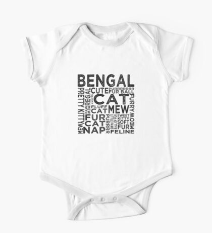Bengal Cat Typography One Piece - Short Sleeve