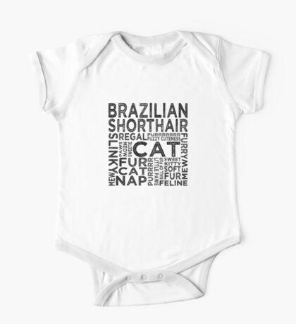 Brazilian Shorthair Cat Typography One Piece - Short Sleeve