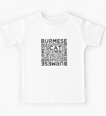 Burmese Cat Typography Kids Tee