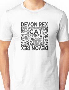 Devon Rex Cat Typography Unisex T-Shirt