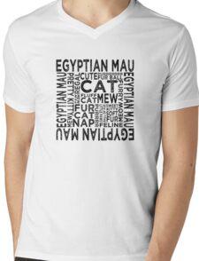 Egyptian Mau Cat Typography Mens V-Neck T-Shirt
