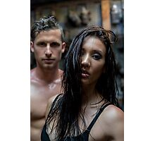 Semi naked couple in an industrial workshop Photographic Print