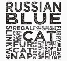 Russian Blue Cat Typography One Piece - Short Sleeve