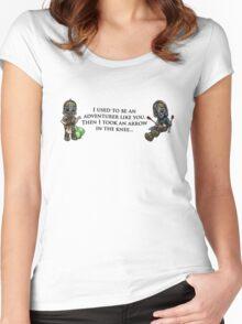 Arrow in the Knee Meme Women's Fitted Scoop T-Shirt