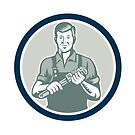 Plumber Holding Monkey Wrench Circle Retro by patrimonio