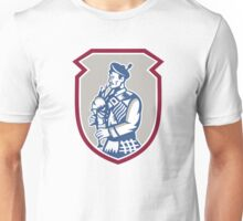 Scotsman Bagpiper Playing Bagpipes Shield Unisex T-Shirt