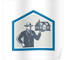 Real Estate Salesman Sell House Retro Poster