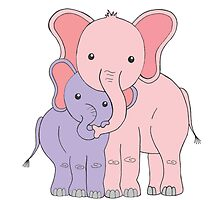 Elephant Family Mom and Daughter by Marissa Falk-Varcoe