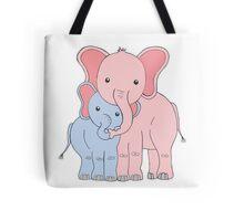 Elephant Family Mom and Son Tote Bag