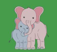 Elephant Family Mom and Son Kids Tee