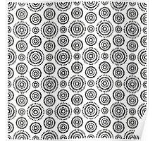 Black dots circles pattern on white background Poster