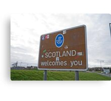 Welcome to Scotland sign Canvas Print