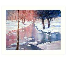 River scene with snow by Paul Sagoo Art Print