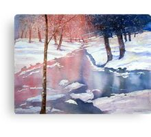 River scene with snow by Paul Sagoo Canvas Print