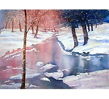River scene with snow by Paul Sagoo Photographic Print