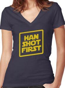 Han Shot First Women's Fitted V-Neck T-Shirt