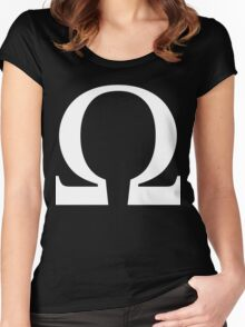 Omega Symbol [White Ink] Women's Fitted Scoop T-Shirt