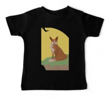The Lonely Fox Sitting Viewing the Moon Baby Tee
