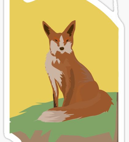 The Lonely Fox Sitting Viewing the Moon Sticker
