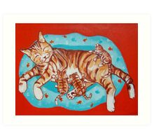 Mama Cat and Little Ones Art Print
