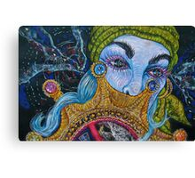 blue haired gypsy Canvas Print