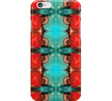 Color Chant - Red And Aqua Pattern Art By Sharon Cummings iPhone Case/Skin