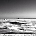 Frozen lake Michigan in February by CORA D. MITCHELL