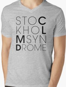 CLMD - The Stockholm Syndrome Black Typography Mens V-Neck T-Shirt