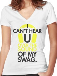 Headphone swag Women's Fitted V-Neck T-Shirt