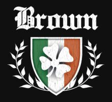 Brown Family Shamrock Crest (vintage distressed) Baby Tee