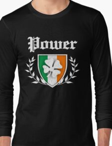 Power Family Shamrock Crest (vintage distressed) Long Sleeve T-Shirt