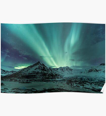 Aurora Borealis over glacier Poster