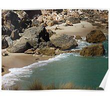 Rocks on beach Poster