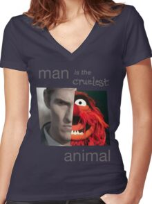MAN is the cruelest ANIMAL Women's Fitted V-Neck T-Shirt