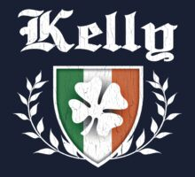Kelly Family Shamrock Crest (vintage distressed) Kids Tee