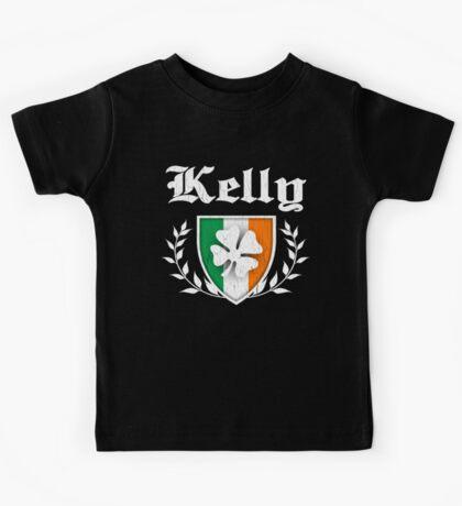 Kelly Family Shamrock Crest (vintage distressed) Kids Tee