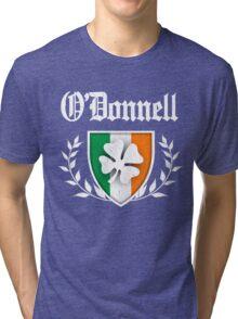 O'Donnell Family Shamrock Crest (vintage distressed) Tri-blend T-Shirt