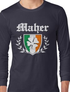 Maher Family Shamrock Crest (vintage distressed) Long Sleeve T-Shirt