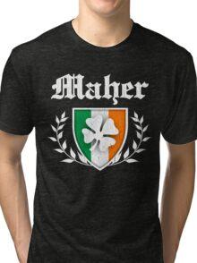 Maher Family Shamrock Crest (vintage distressed) Tri-blend T-Shirt