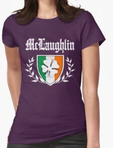 McLaughlin Family Shamrock Crest (vintage distressed) Womens Fitted T-Shirt
