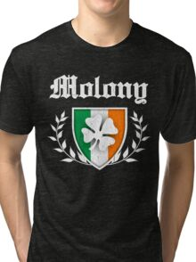 Molony Family Shamrock Crest (vintage distressed) Tri-blend T-Shirt