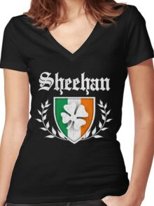 Sheehan Family Shamrock Crest (vintage distressed) Women's Fitted V-Neck T-Shirt