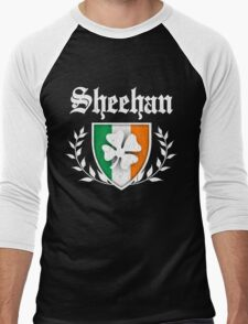 Sheehan Family Shamrock Crest (vintage distressed) Men's Baseball ¾ T-Shirt