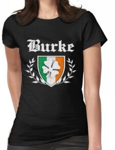 Burke Family Shamrock Crest (vintage distressed) Womens Fitted T-Shirt