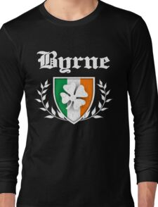 Byrne Family Shamrock Crest (vintage distressed) Long Sleeve T-Shirt