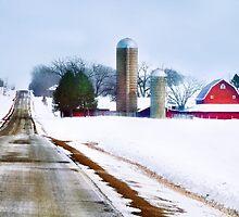 Barn Along a Snowy Road by Nadya Johnson